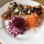 Feta,tomato,courgette and aubergine tart. Sensational beetroot and carrot salad side! :-)