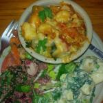 Tasty gnocci with veggies and chrunchy salads