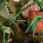Suffolk Lamb, Roasted Aubergine, Pickled Clams & Sea Vegetables