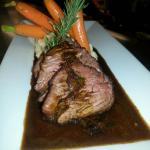 Roasted Beef tenderloin Chasseur, a rich wild mushroom sauce