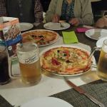 Cold beer and pizza