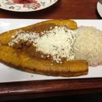 Yellow Plantain with rice & picadillo