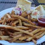 Salmon Sliders and french fries
