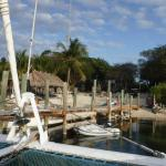 View of dock and beach area as we leave for sunset sail