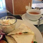 My favourite, Earl Grey and a Spinach, Red Pepper and Mozzarella Quesadilla!