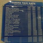 Tarifa de taxis desde el hotel