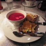 Red beet soup & turkey sandwich