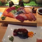 Sushi entree set. And chili avocado tuna/maguro sushi
