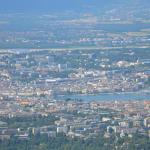view on Geneva and Grand-Saconnex with Mountains of Jura and Lake of Geneva