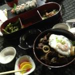Our meal (Appetizer, stamina steak don, and sushi plate)