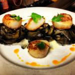 Seared Scallops over Squid Ink Pasta