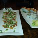 Tuna tartar crisps: good and sushi rolls: small portions and soggy tempura inside one