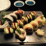 Left to right Soft shell crab Roll KFC Roll Vegetable Roll
