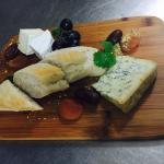 cheese platter with fresh baguette