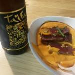 Especial de fin de semana. Salmorejo de naranja con tataki de atún y taifa rubia.
