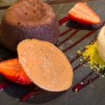Chocolate Fondant with Salted Caramel - ten out ten for presentation! - 1530 Seckford Hall