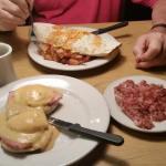 Eggs Benedict w Corned Beef Hash; Breakfast Burrito