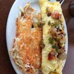 Try our yummy Western Omelet with hashbrowns...