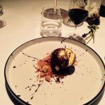 Palla di cioccolato ripieno di passion Fruit. By Santoro