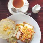Fried chicken and corn on a stottie (traditional Geordie bread), with QB's English Breakfast Ble