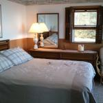 Cottage #1 queen bedroom with a view of Lake Huron.  Walk out deck