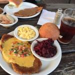 Scholz Schnitzel with red cabbage and Mac and cheese
