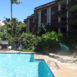 The pool area at Hono Koa