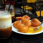 Lououmades with Honey and Cinamon and a lovely Freddo Cappuccino