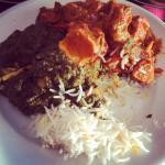 Palak paneer, tikki masala and basmati rice