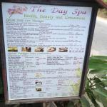 The Day Spa price list