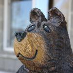Wood carved bear greetings