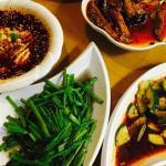 空芯菜、キュウリの炒め物、麻婆茄子