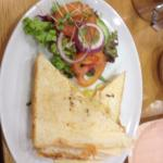 Cheese and tomato toastie with side salad