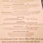 Lillian's Restaurant, Saratoga Springs, New York  Restaurant Week (3/20 - 3/29/15) Menu