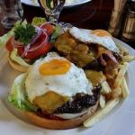 Double burger with cheddar, bacon and eggs!!