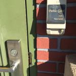 Security lock on side door at country Inn and suites Port Charlotte Florida March 2015. This loc