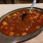 The Chana masala: whole chickpeas in a spicy tomato sauce. This is great over basmati rice.