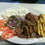 Doner with beef and lamb meat! Tasty and filling (the pita provided is not pictured here)