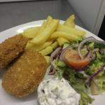 Our fish cakes special with Matt's homemade chips & red onion & lemon Mayo