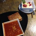 Cabbage roll soup and bacon, Brie and berry panini. Plus a power bowl of Greek yogurt  white cho