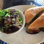 Great for lunch, grilled eggplant sandwich with salad
