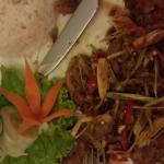 Stirred fried duck with lemon grass and chilli.
