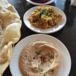 Mezze with pickled beets, cauliflower and black-eye pea hummus
