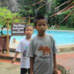 Edgar and Ezra at swimming pool