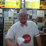 Old Fashion Soda Jerk. This is Mgr. Trevor showing off the old fashion ice cream parlor feel; al
