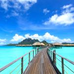 Bridge to over-water bungalows
