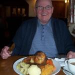 My hubby with his plateful of roast beef & yorkshire