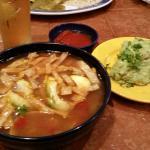 Tortilla chicken soup and guacamole.