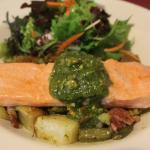 Orange and Maple Roasted Salmon Fillet on a Warm Potato,Bean and Bacon Salad with a cashew nut P