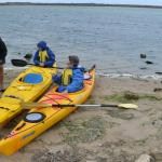 At Sugars Beach, preparing to paddle on The Coorong